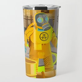 biohazard suit man with barrels near nuclear meltdown in powerplant Travel Mug