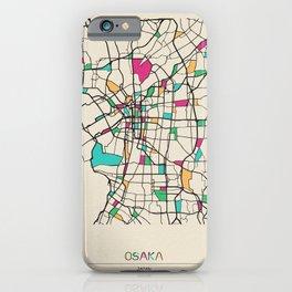 Colorful City Maps: Osaka, Japan iPhone Case