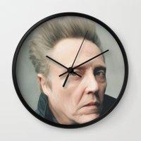 christopher walken Wall Clocks featuring Walken by AXLWD