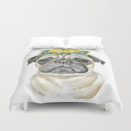 Pug Floral Dog Portrait Watercolor Duvet Cover