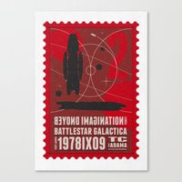 battlestar galactica Canvas Prints featuring Beyond imagination: Battlestar Galactica postage stamp  by Chungkong