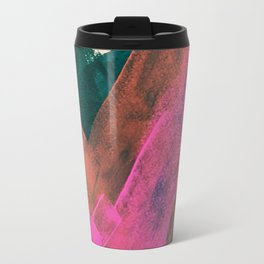 Expand [2]: a colorful, minimal abstract piece in pinks, green, and blue Travel Mug