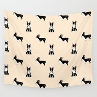 boston terrier Wall Tapestries featuring Boston Terrier by Luiza Sequeira