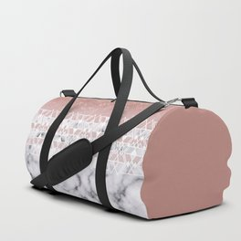 Modern Rose Gold White Marble Geometric Ombre Duffle Bag