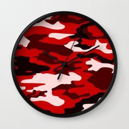 Red Camo Wall Clock