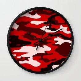 Red Camo Wall Clock