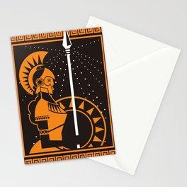 palas athena minerva greek roman mythology goddess orange and black old plate painting Stationery Cards