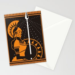 palas athena minerva greek roman mythology goddess orange and black old plate painting Stationery Cards