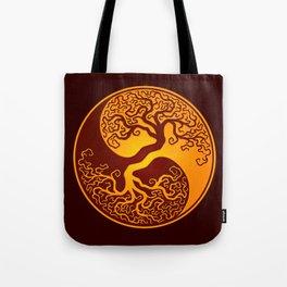 Red and Yellow Tree of Life Yin Yang Tote Bag