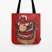 mario Tote Bags featuring Mario by Lime