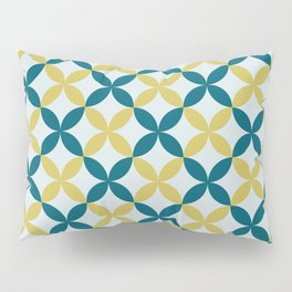Dark Teal, Pale Blue and Dark Yellow 4 Leaf Minimal Flower Petal Pattern 2 Inspired by Sherwin Williams 2020 Trending Color Oceanside SW6496 Pillow Sham