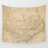 north carolina Wall Tapestries featuring Vintage Map of Eastern North Carolina (1862) by BravuraMedia