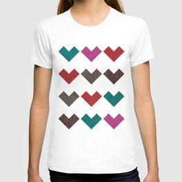 leather geometric love on white T-shirt