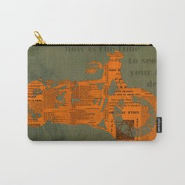 Orange and green abstract motorcycle, man cave decoration, gift for him Carry-All Pouch