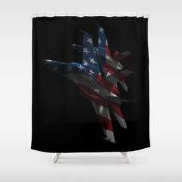 US Military Fighter Attack Jets with American Flag Overlay Shower Curtain