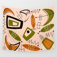mid century Wall Tapestries featuring Atomic Mid-Century Modern 2 by Kippygirl