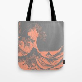 The Great Wave Peach & Gray Tote Bag