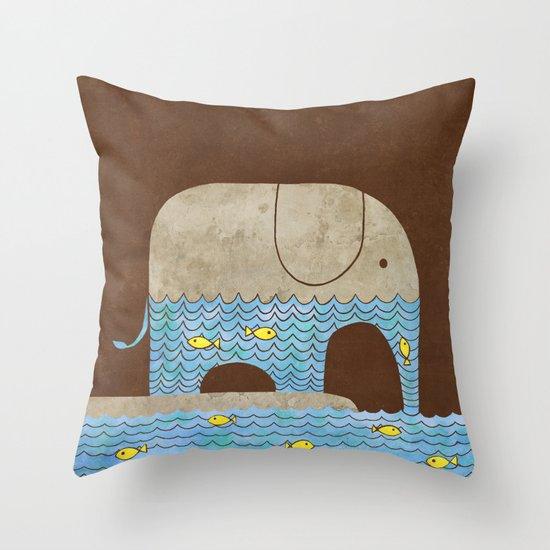 Thirsty Elephant - colour option Throw Pillow