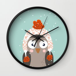 Owl Under Snow in the Christmas Time. Wall Clock