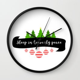 Silent Holy Night Sleep Heavenly Peace Christmas Tree Tinsel Design Wall Clock