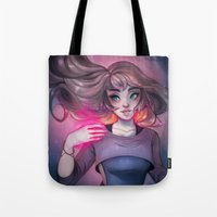 cyarin Tote Bags featuring Bonfire Spell by Cyarin