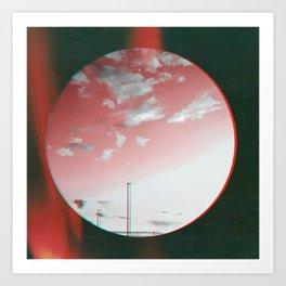 glitched red sky Art Print