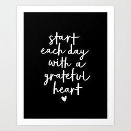 Start Each Day With a Grateful Heart black-white typography poster design modern wall art home decor Art Print
