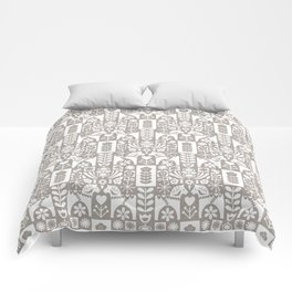 Swedish Folk Art - Warm Gray Comforters