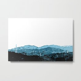 Powerlines in Japan - minimalist mountains Metal Print