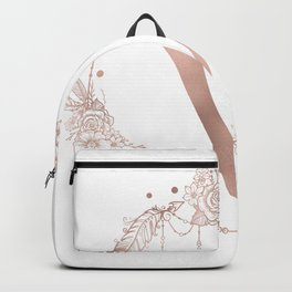Letter V Rose Gold Pink Initial Monogram Backpack