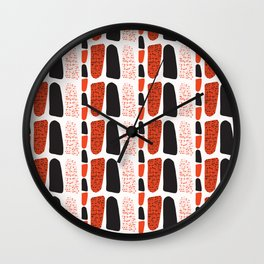 Terracotta and Black Abstract Drawn Symbols Style Wall Clock