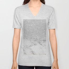Modern faux grey silver glitter ombre white marble Unisex V-Neck