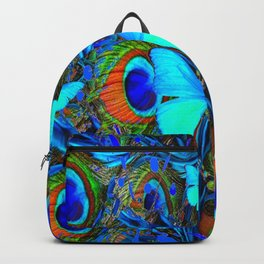 ELECTRIC NEON BLUE BUTTERFLIES & BLUE PEACOCK FEATHERS Backpack