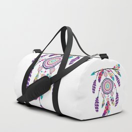 Colorful dream catcher on arrow Duffle Bag