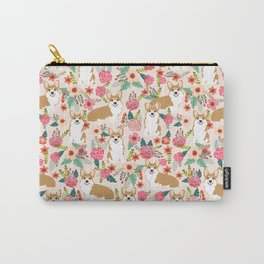 Corgi Florals - vintage corgi and florals gift great for corgi lovers Carry-All Pouch