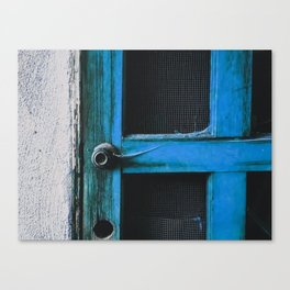 closeup old blue vintage wood door texture background Canvas Print