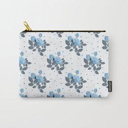 Blue roses and polka dots Carry-All Pouch