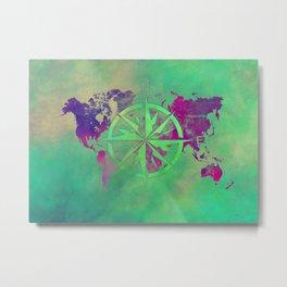 world map wind rose 6 #worldmap #map Metal Print