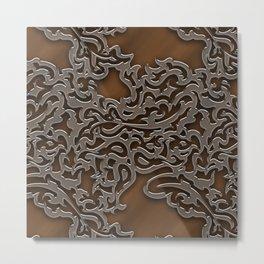 Floral embossing - copper Metal Print