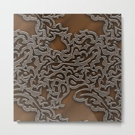 Floral embossing - copper Metal Print