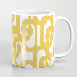 Mustard Yellow and White Mid-century Modern Loop Pattern Coffee Mug