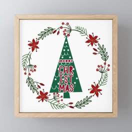 Merry Christmas - Xmas tree advent wreath Framed Mini Art Print