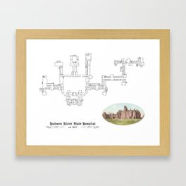 Hudson River State Hospital Blueprint Print Framed Art Print