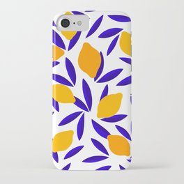 Blue and yellow Lemon Summery Pattern iPhone Case