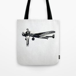 Amelia Earhart with her Airplane Tote Bag