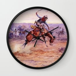 """""""Bucking Bronco"""" by Charles M Russell Wall Clock"""