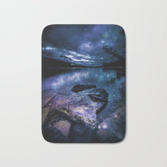 Magical Mountain Lake Indigo Teal Bath Mat