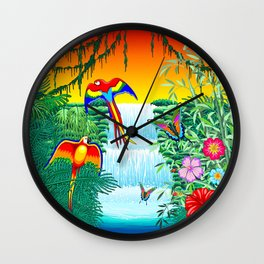 Waterfall Macaws and Butterflies on Exotic Landscape in the Jungle Naif Style Wall Clock