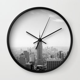Manhattan - Empire State Building Panorama | B/W Wall Clock