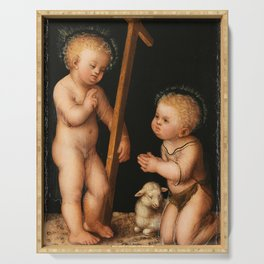 Lucas Cranach the Elder- Infant Jesus and John the Baptist as child Serving Tray